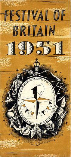 Festival of Britain Brochure 1951, retro, design, typography, leaflet, lettering, type, illustration, colour