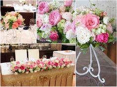 会場装花イメージ:白×ピンク,バラ
