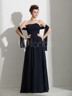 Elegante una linea Dark Navy Chiffon drappeggiato Prom Dress femminile senza spalline pavimento-lunghezza - Milanoo.com