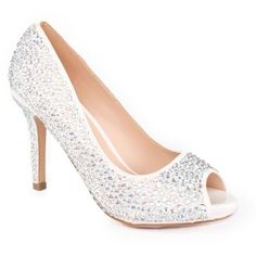 Lauren Lorraine White Paula 3 Peep Toe Heel - Women's ($109) ❤ liked on