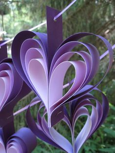 Two Garlands Of Purple Hearts.Cardstock Paper in Shades of Purple. Wedding, Shower Decoration. Custom Orders Welcome.. $36.00, via Etsy.
