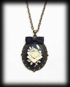 Ivory Rose Necklace, Gothic Victorian Cameo Pendant, Antique Bronze Frame, Gothic Valentine Gift, Romantic Jewelry, Handmade Jewellery by WhisperToTheMoon on Etsy