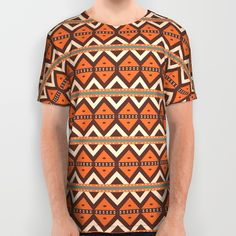 Brown orange rhombus pattern All Over Print Shirt by Laly_sb #T-shirt #tee #fashion #clothing #clothes #abstract #all over print #unisex