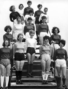 BEA stewardesses in World Cup strips, April 1966.○