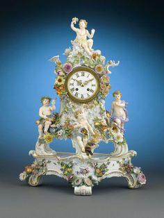 Antique Meissen Porcelain Mantel Clock Featuring The Four Elements With Stunning Rococo Flourishes And Intricate Detailing And Made By The German Black Forest Firm Of Lenzkirch Mantel Clocks, Old Clocks, Antique Clocks, Clock Decor, French Clock, Classic Clocks, Unusual Clocks, Clock Shop, Dresden Porcelain