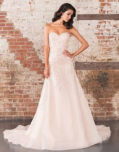 A sweetheart neckline adorns this A-line organza gown with opulent beadwork throughout the bodice that continues to the end of the cathedral length train.