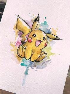 Watercolour Art With Pikachu! Pikachu Pikachu, Pokemon Tattoo, Nintendo Tattoo, Disney Drawings, Cute Drawings, Javi Wolf, Pikachu Drawing, Geometric Tatto, Aquarell Tattoo