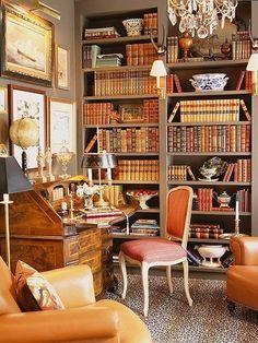 English library... love the cheetah rug