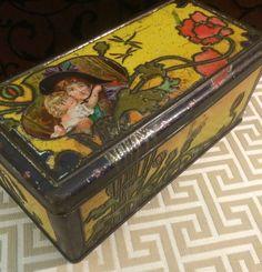Rare c 1900 Art Nouveau Tin Box, Antique Biscuit Tin, CWS, Vintage Tin Box, Advertising Tin, Mother Child, Mothers Day Gift, Yellow
