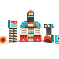 Quirkily creative wooden block sets.