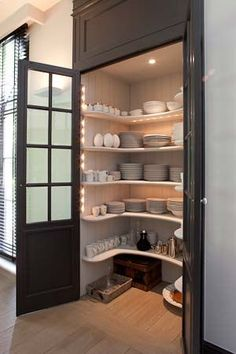 I would need another like this with solid doors for food storage and kitchen items. I would like deeper shelves, please. via