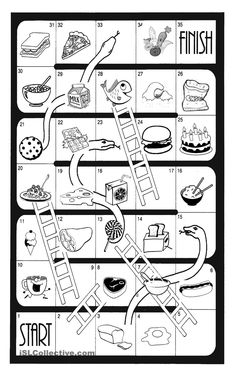 Snakes and Ladders - Food - English ESL Worksheets Preschool Number Worksheets, Preschool Board Games, Numbers Kindergarten, Numbers Preschool, Vocabulary Activities, Preschool Learning Activities, Worksheets For Kids, Snakes And Ladders Printable, Homemade Board Games