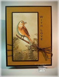 Vertical Greetings Bird with Layered Fern Background - stampTV added by Gina K. Video 9:39 mins See how to make the layered fern background in this card, featuring images from Vertical Greetings 2 by Gina K Designs. The bird is colored using Spectrum Noir markers and the background sponged then stamped.