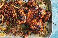 Portuguese-style peri peri chicken with crispy potatoes. Recipe from donna hay magazine for iPad app
