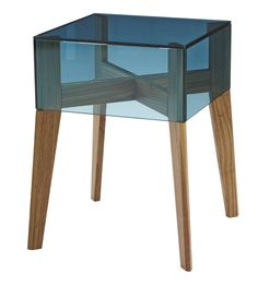 ON THE ROCKS.  Sidetable in walnut with choice of blue-tint or clear glass top. the top can be flipped to create a storage box.  36 x 36 x H 45 cm .