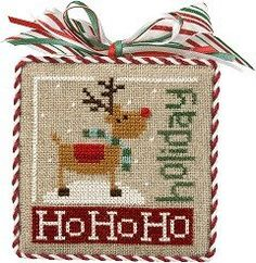 """""""Ho Ho Holiday"""" is the title of this cross stitch pattern from the 12 pattern series from Lizzie Kate titled """"Jingles"""". If you wish to stitch all of the patterns together, I have the 12 chart pack available, fabric and Weeks Dye Works fiber pack. A tiny button comes with each pattern."""