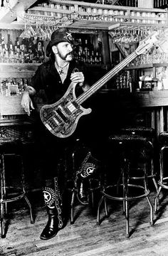 Lemmy with a rickenbacker bass guitar