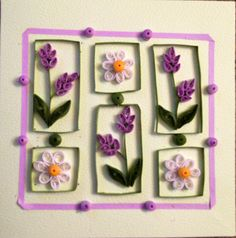 Quilled card. Lavender & Daisies.