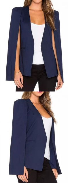 Blue Slip Sleeve Cape Back Slim Blazer-CHOIES Love the look but will I pull it off?