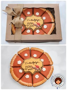Thanksgiving Pie Sugar Cookies via Cookie Connection Fall Decorated Cookies, Fall Cookies, Cut Out Cookies, Iced Cookies, Cute Cookies, Cookies Et Biscuits, Holiday Cookies, Cupcake Cookies, Birthday Cookies