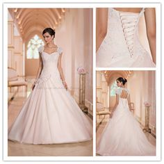Vestido de noiva 2015 Wedding Dress A Line Sweetheart Lace-up Back Cap Sleeve dress the bride