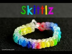 Rainbow Loom SKITTLZ Bracelet. Designed and loomed by Madeline at Loom Love. Click on photo for YouTube tutorial. 03/02/14