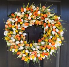 Spring Wreath Orange and Yellow Whispy Tulip by elegantholidays, $80.00