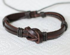 262 Men's brown leather bracelet Leather bands by mylenium77