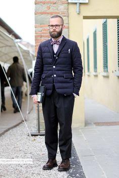 Source: naplestreetstyle.it Italian fashion journalist - Angelo Flaccavento Jacket Moncler by Thom Browne; Papillon Thom Browne; Shirt Brooks Brothers; Pants Sartoriale; Stringate Prada; Eyewear Rayban.