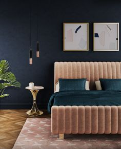 Sophia is a mid-century styled panel bed, with bonded velvet on the headboard and footboard, expertly stitched from the top to the bottom and accented with tufted brass buttons on both sides. It features square legs made of polished brass making this bed a retro piece of design.