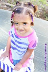 Brown girls hairstyle.  Brown baby, diva girl hairstyle with baby curls at the end using Sidewinders from hairholders.com.  Hairstyle by Treaturesfortots.blogspot.com