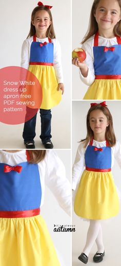 free sewing pattern for Snow White princess dress up apron So adorable! Get the free PDF sewing pattern for this easy to make Snow White princess dress up apron in sizes to fit any little girl! Easy DIY Snow White costume or dress up. Easy Sew Dress, Diy Dress, Sewing Patterns For Kids, Sewing For Kids, Free Sewing, Sewing Ideas, Sewing Diy, Sewing Crafts, Apron Pattern Free