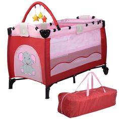 Baby Crib Playpen Playard Pack Travel Infant Bassinet Bed Foldable (Pink). Wanna go out or travel with your lovely baby?. Our new baby crib is such an ideal product to ensure the safety in both structure and material and to provide more convenience and comfort when travelling outside. The crib features a diaper place, a side pocket for spacing, two wheels for moving and breathable mesh windows for clear and good view. It can be folded in a carry bag to meet convenient storage and carry....