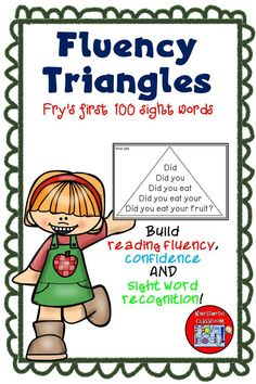 Fluency triangles for Fry's first 100 sight words. Also includes all of Fry's picture nouns! Build reading fluency, confidence and sight word recognition in context. Reading Fluency Activities, Reading Tutoring, Reading Task Cards, Fluency Practice, Reading Intervention, Kindergarten Reading, Reading Strategies, Teaching Reading, Guided Reading