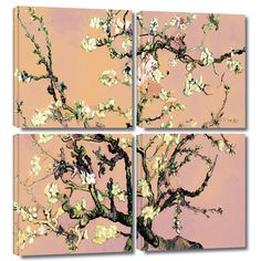 'Eggshell Almond Blossom' by Vincent Van Gogh 4 Piece Painting Print Gallery-Wrapped on Canvas Set