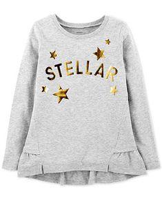 Carter's Little & Big Girls Stellar Graphic Cotton Shirt Kids - Shirts & Tees - Macy's Girls Tees, Shirts For Girls, Kids Shirts, Space Fashion, Kids Fashion, Moda Junior, Ww Girl, Cotton Shirts Online, Kids Wear