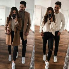 Couple Outfit 1 or Matching Couple Outfits, Matching Couples, Winter Travel Outfit, Winter Fashion Outfits, Fashion Dresses, Edgy Outfits, Cute Outfits, Rock Outfits, Date Night Outfit Classy