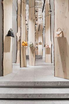 kengo kuma creates enchanted forest pop-up inside valextra's milan store #restaurantdesign