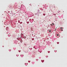 Butterfly Heart PDF Cross Stitch Pattern by XSquaredCrossStitch.