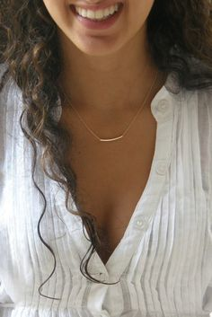 The Original Golden Bar -Very Elegant and Delicate Necklace - balance bar tube By SimaG $33
