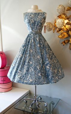 50s Dress // Vintage 1950's Blue Watercolor by xtabayvintage, $198.00