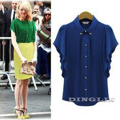 Outono roupas femininas de manga curta com botões blusa Tops camisa plissado Chiffon sólido verde azul tamanho sml grátis frete 1263