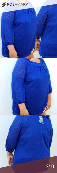 Just My Size blue top This top is very cute for any occasion. This shirt is new with tags so in great condition. No stains or rips. If you have any question please comment down below. JMS Tops