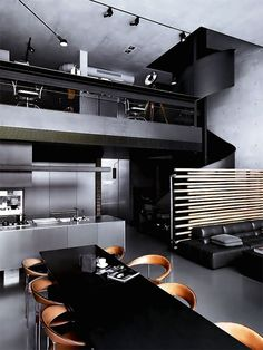 dark toned masculine bachelor pad interior design