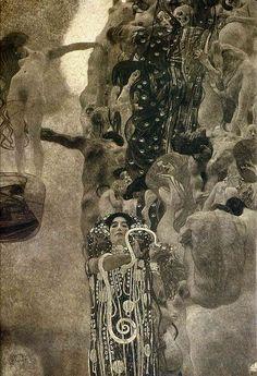 Medicine - Gustav Klimt 1901. Obra feita com óleo em tela. Medicine foi exposto no museu da secessão de Viena em 1901, representando a vida com a mulher nua sendo elevada no canto superior esquerdo e a morte como sua inimiga em uma espécie de aglomerado (nuvem) com algumas mulheres e homens despidos. Na parte inferior ao meio encontrasse a mitológica Hygieia filha do Deus da medicina, com uma cobra e seus ''apetrechos'' para a cura. Fortíssima influência Art Nouveau nessa obra de Klimt.