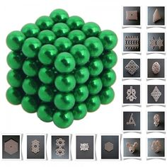 64pcs 5mm DIY Buckyballs Neocube Magic Beads Magnetic Toy Green.  Check this out at the Tmart link on MomTheShopper.