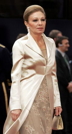 Empress Farah Diba Pahlavi of Iran at the wedding between Crown Prince Frederik and Crown Princess Mary on May 14, 2004 in Copenhagen,