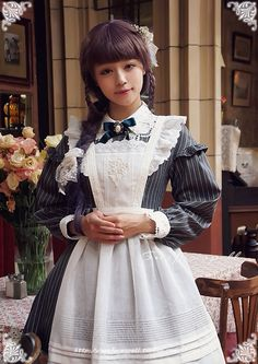 Little Dorrit * Boarding School Girls Classic strap small apron surface spell Lolita * 14 * Autumn - Taiwan Taobao, Taobao Almighty Harajuku Fashion, Japan Fashion, Kawaii Fashion, Lolita Fashion, Cute Fashion, Fashion Outfits, Fashion Ideas, Maid Dress, Dress Up