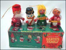 Vintage Christmas Ornaments Santa Family Wooden Original Box
