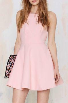 Spaghetti Strap, Hollow A-Line, Little Pink Dress.
